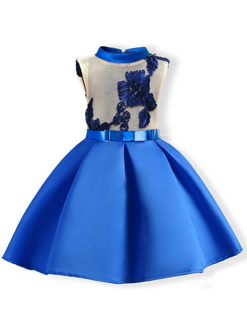 In Stock:Ship in 48 Hours Blue Satin High Neck Flower Girl Dress