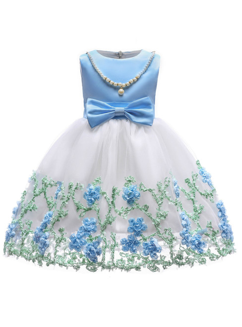 In Stock:Ship in 48 Hours Blue Tulle Appliques Flower Girl Dress With Bow