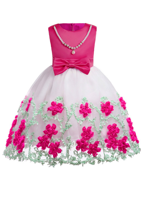 In Stock:Ship in 48 Hours Fuchsia Tulle Appliques Flower Girl Dress With Bow