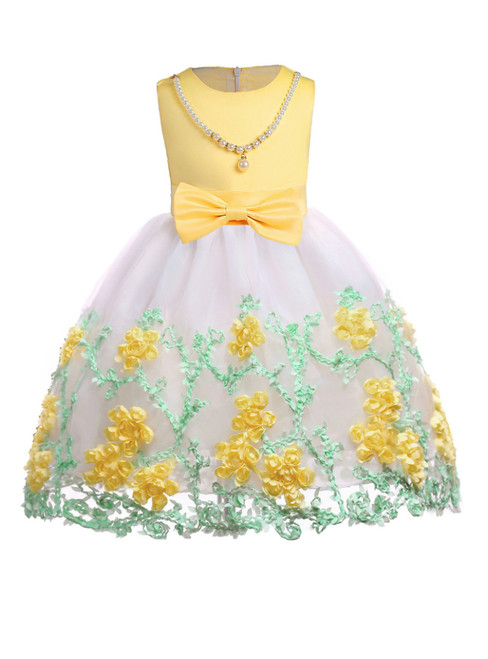 In Stock:Ship in 48 Hours Yellow Tulle Appliques Flower Girl Dress With Bow