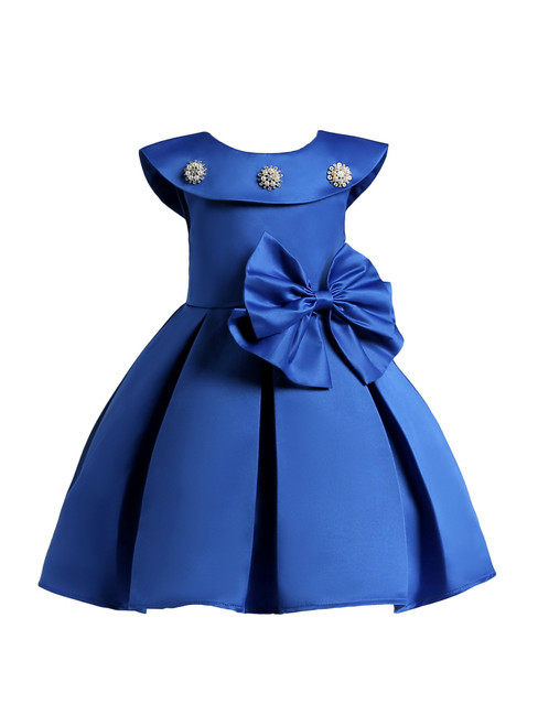 In Stock:Ship in 48 Hours Blue Satin Short Flower Girl Dress With Bow