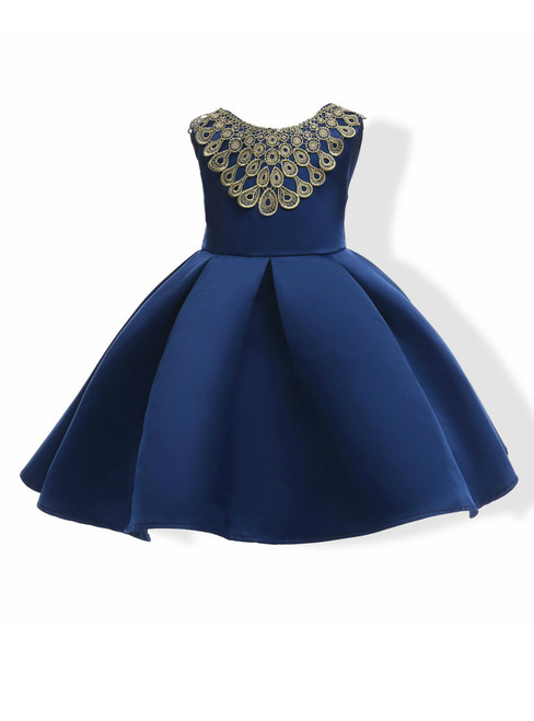 In Stock:Ship in 48 Hours Blue Satin Backless Flower Girl Dress With Bow