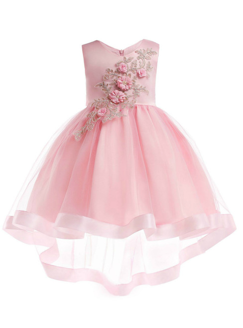 In Stock:Ship in 48 Hours Pink Satin Tulle Appliques Flower Girl Dress