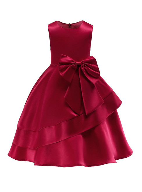 In Stock:Ship in 48 Hours Burgundy Satin Flower Girl Dress With Bow