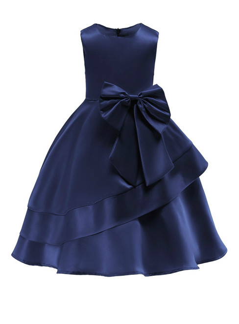 In Stock:Ship in 48 Hours Blue Satin Flower Girl Dress With Bow
