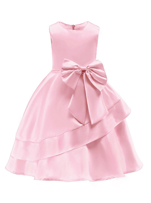 In Stock:Ship in 48 Hours Pink Satin Flower Girl Dress With Bow