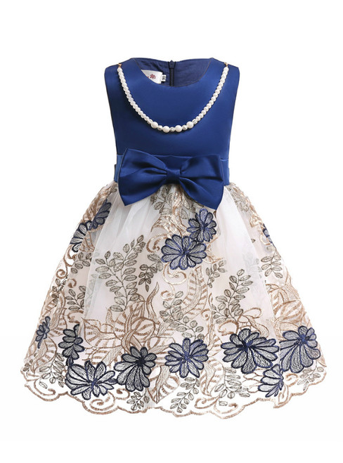 In Stock:Ship in 48 Hours Blue Satin Print Flower Girl Dress With Bow
