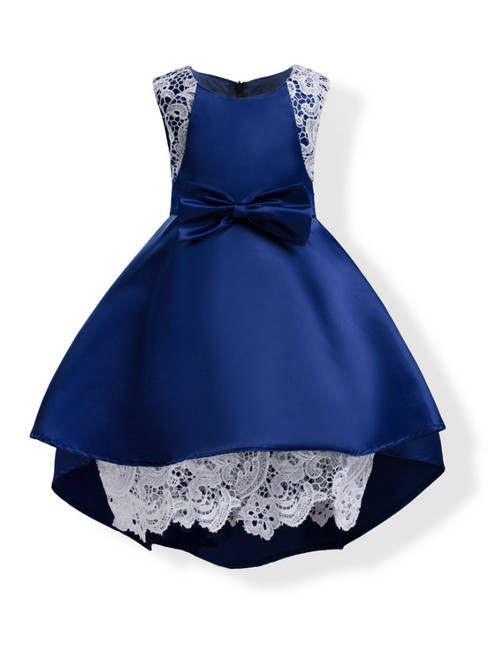 In Stock:Ship in 48 Hours Blue Satin Lace Flower Girl Dress With Bow
