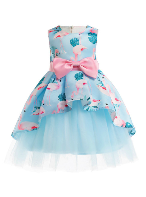 In Stock:Ship in 48 Hour Blue Tulle Print Flwoer Girl Dress With Bow