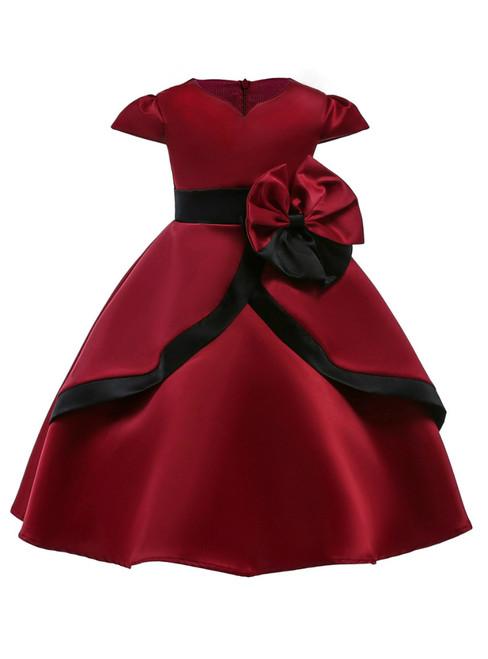In Stock:Ship in 48 Hours Burgundy Satin Cap Sleeve Flower Girl Dress