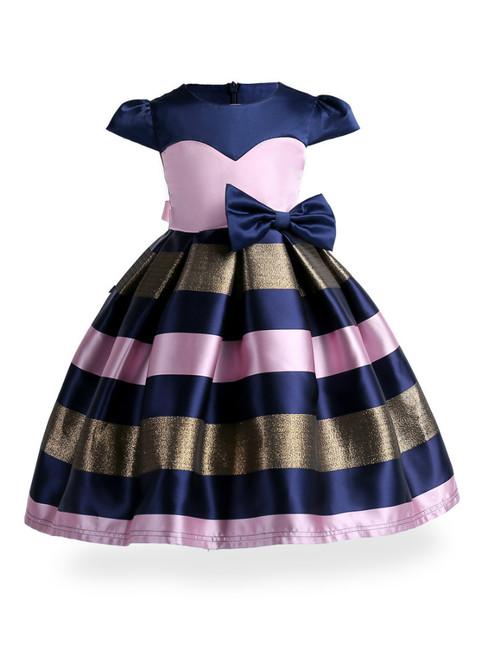 In Stock:Ship in 48 Hours Pink Satin Cap Sleeve Flower Girl Dress