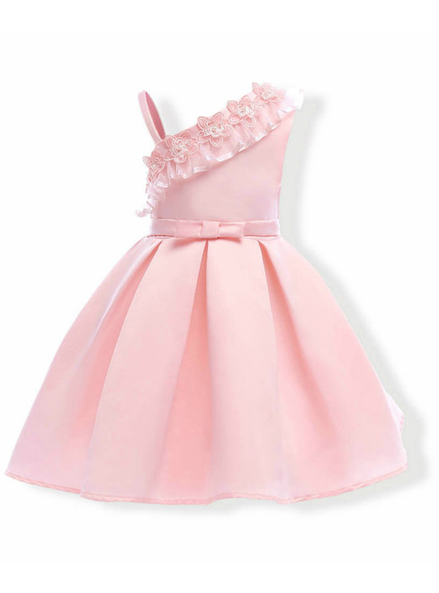 In Stock:Ship in 48 Hours Pink Satin One Shoulder Appliques Girl Dress