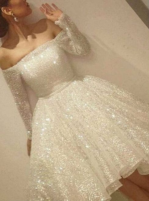 Cheap homecoming dresses 2017 Bling Off Shoulder Long Sleeve Party Dresses