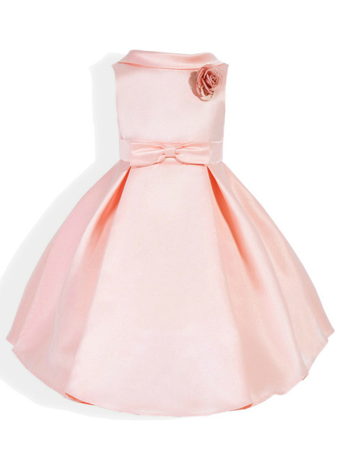 In Stock:Ship in 48 Hours Pink Satin Flower Girl Dress With Flower