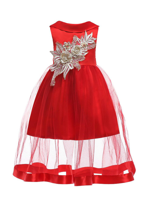 In Stock:Ship in 48 Hours Red Tulle Appliques Flower Girl Dress