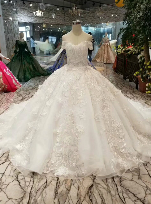 Ivory White Ball Gown Tulle Appliques Off The Shoulder Wedding Dress