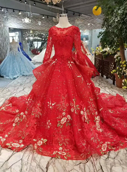 Red Ball Gown Tulle Sequins Embroidery Appliques Long Sleeve Wedding Dress