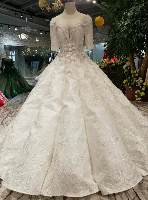 Ivory White Ball Gown Short Sleeve Backless Appliques Beading Wedding Dress