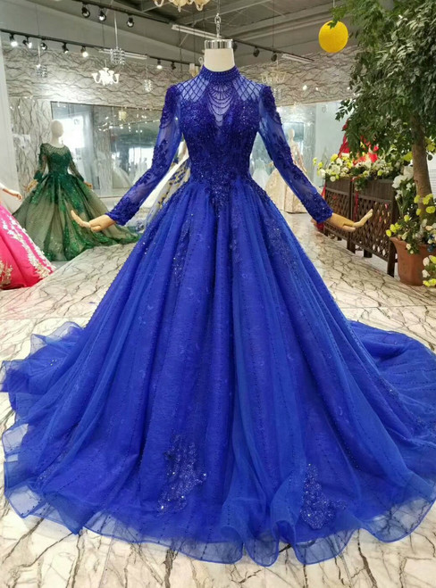 Royal Blue Tulle High Neck Long Sleeve Backless Wedding Dress With Beading
