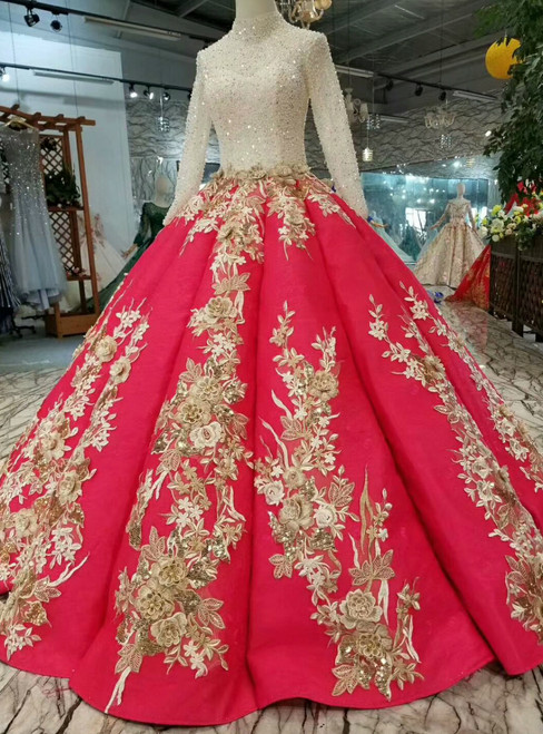 Red Ball Gown Satin Long Sleeve Appliques Beading Sequins Wedding Dress