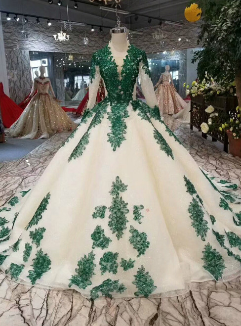 Champagne Ball Gown Tulle Sequins Green Sequins Appliques Long Sleeve Wedding Dress