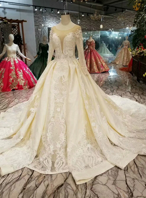 Champagne Ball Gown Lace Satin Long Sleeve Wedding Dress With Beading