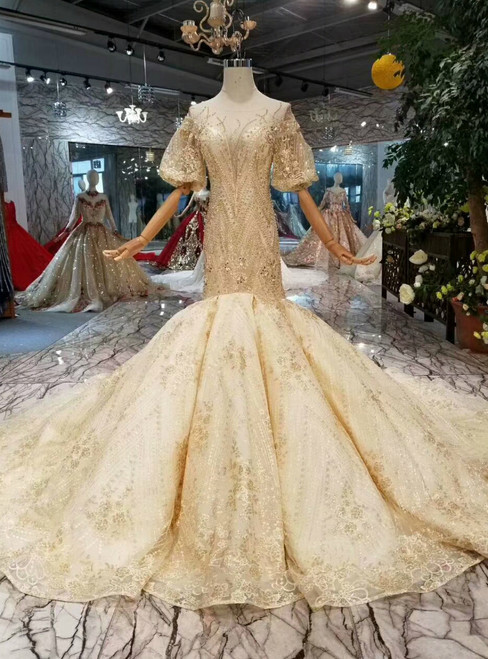 Champagne Mermaid Lace Tulle Puff Sleeve Backless Wedding Dress