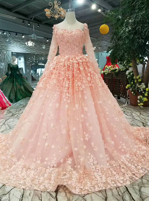 Pink Ball Gown Tulle Long Sleeve Appliques Wedding Dress With Beading