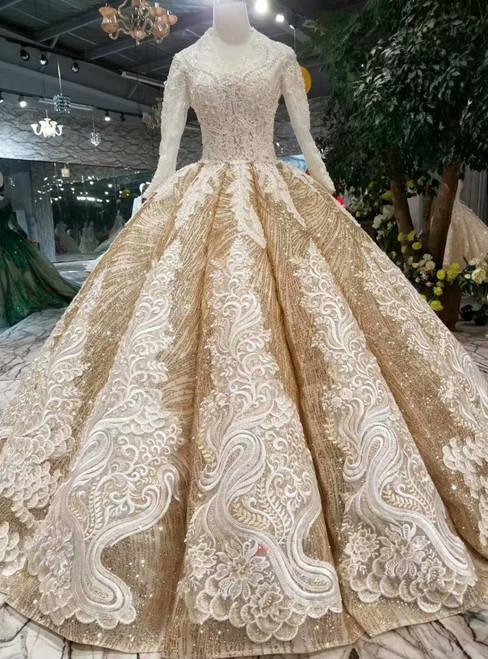 Champagne Gold Sequins V-neck Long Sleeve Appliques Wedding Dress