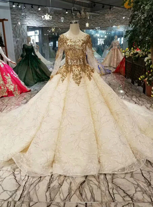 Champagne Ball Gown Tulle Sequins Long Sleeve Wedding Dress With Train