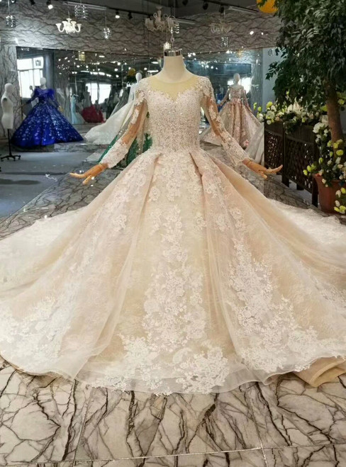 Champagne Ball Gown Tulle Lace Long Sleeve Beading Wedding Dress With Long Train