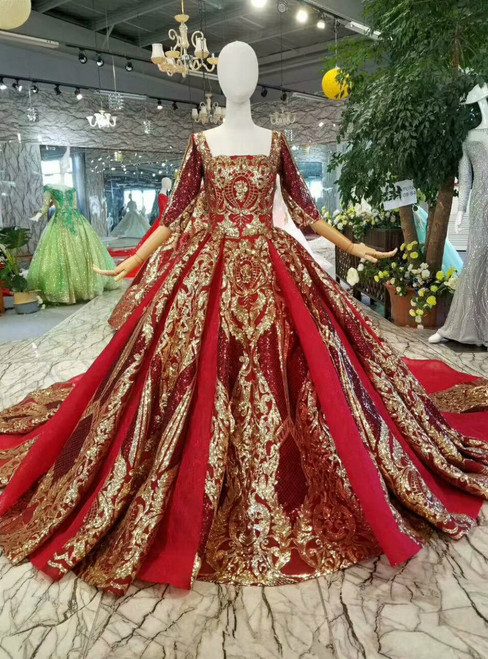 Red And Gold Sequins Square Neck Short Sleeve Backless Wedding Dress