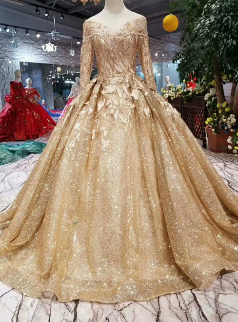 Gold Ball Gown Sequins Appliques Bateau Long Sleeve Wedding Dress