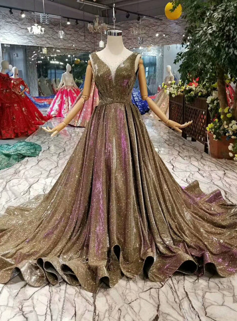 Gold Ball Gown Purple Sequins Bateau Backless Pleats Wedding Dress