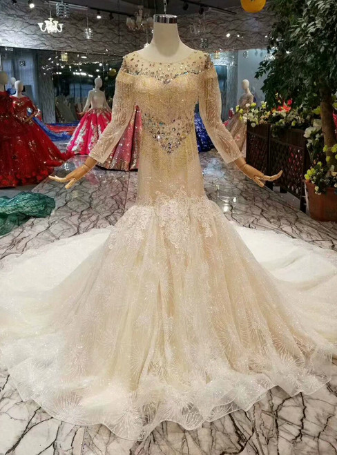 Champagne Mermaid Tulle Sequins Long Sleeve Wedding Dress With Beading