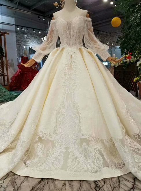 Champagne Ball Gown Satin Lace Off The Shoulder Long Sleeve Wedding Dress With Train