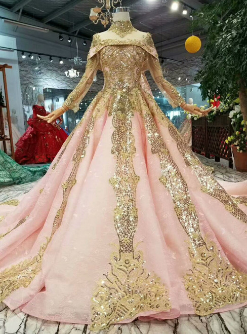 Pink Ball Gown High Neck Long Sleeve Sequins Appliques Wedding Dress With Removable Train