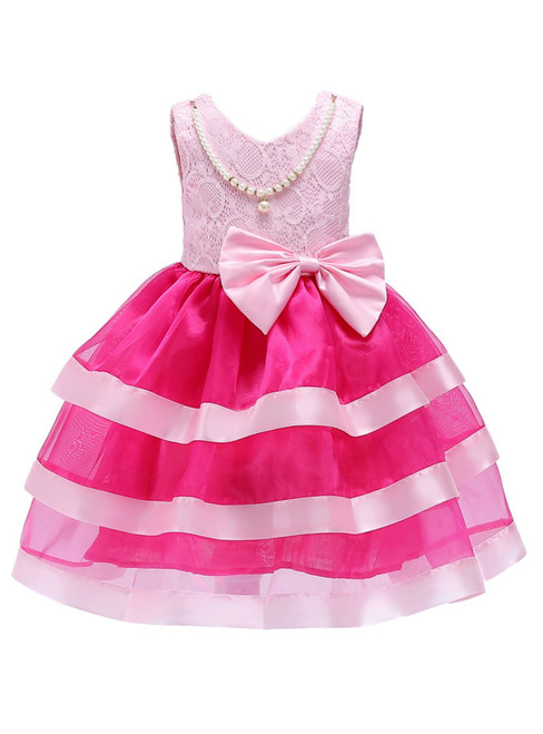 In Stock:Ship in 48 Hours Fuchsia Organza Flower Girl Dress With Bow