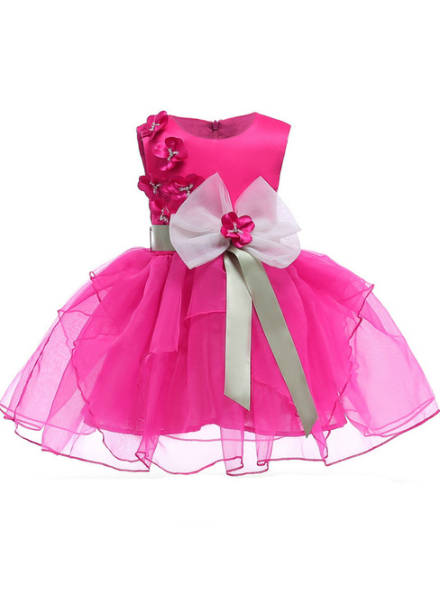 In Stock:Ship in 48 Hours Fuchsia Organza Flower Girl Dress With Flower