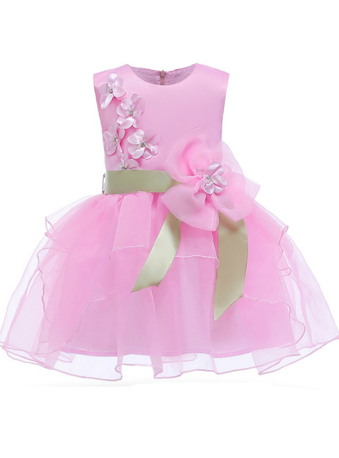 In Stock:Ship in 48 Hours Pink Organza Flower Girl Dress With Flower