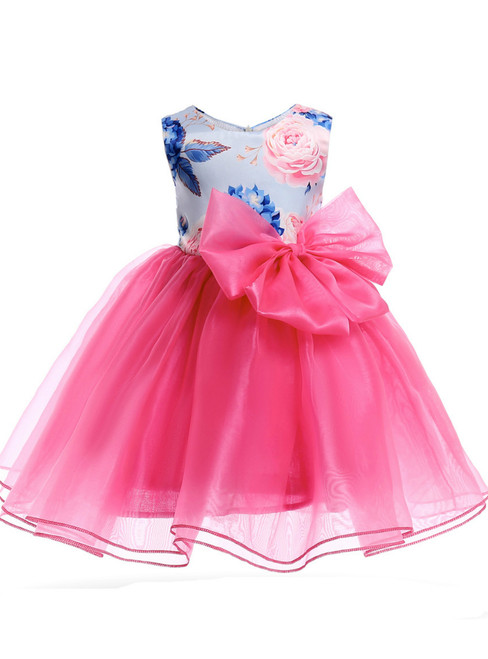 In Stock:Ship in 48 Hours Fuchsia Organza Flower Girl Dress Wit hBow
