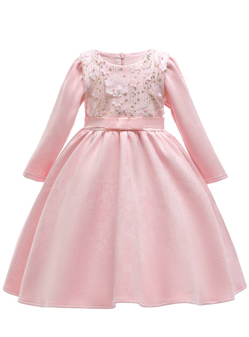In Stock:Ship in 48 Hours Pink Satin Long Sleeve Flwoer Girl Dress
