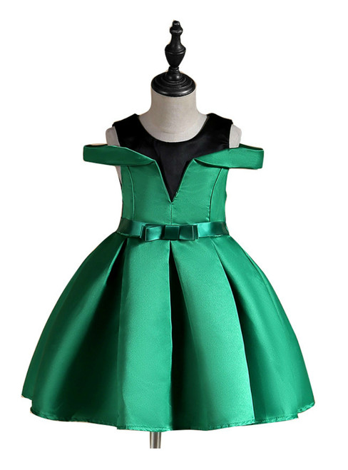 In Stock:Ship in 48 Hours Green Satin Cold Shoulder Flower Girl Dress With Bow