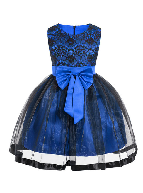 In Stock:Ship in 48 Hours Blue Tulle Lace Flower Girl Dress With Bow