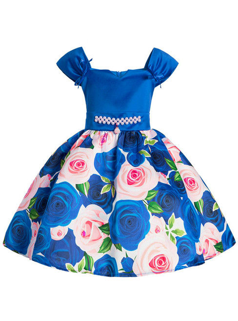 In Stock:Ship in 48 Hours Blue Satin Print Flower Girl Dress With Pearls