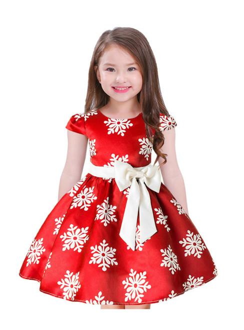 In Stock:Ship in 48 Hours Red Satin Cap Sleeve Print Flower Girl Dress