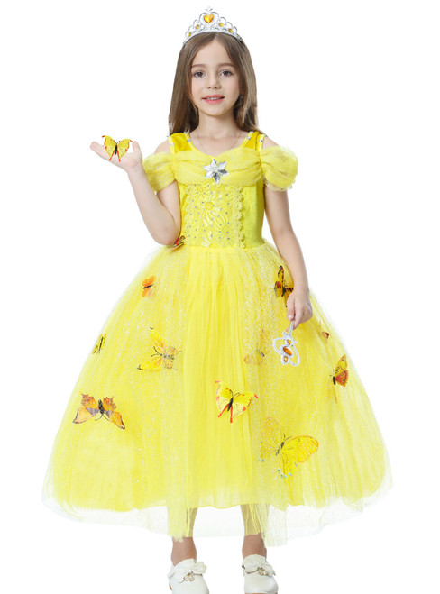 In Stock:Ship in 48 Hours Yellow Tulle Cinderella Dress With Butterfly