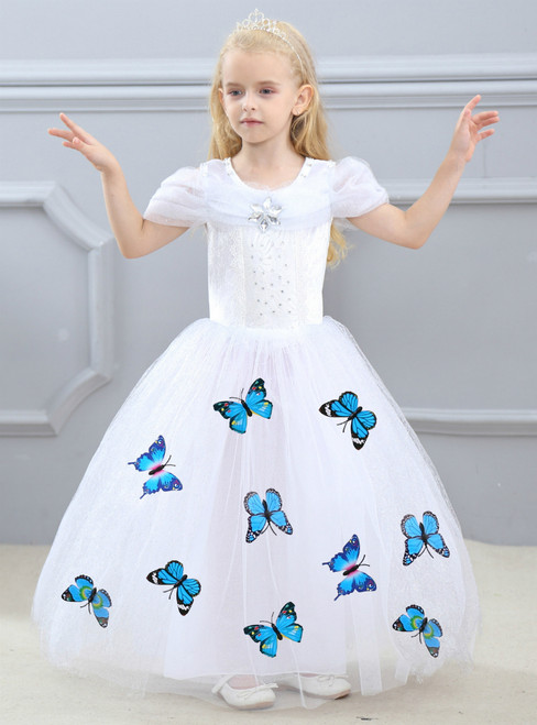 In Stock:Ship in 48 Hours White Tulle Cinderella Dress With Butterfly
