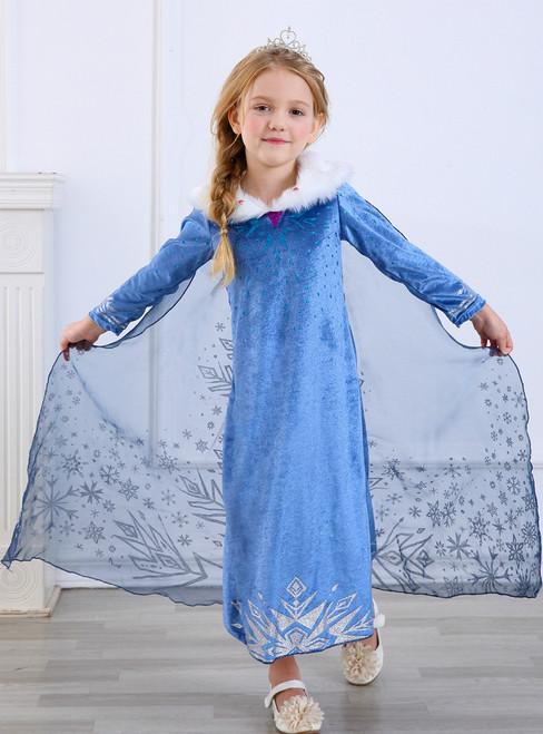 In Stock:Ship in 48 Hours Blue Velvet Long Sleeve Princess Aisha Dress