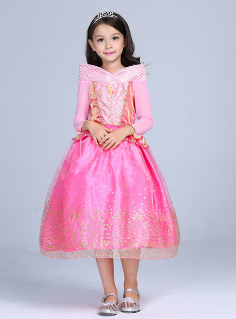 In Stock:Ship in 48 Hours Fuchsia Tulle Long Sleeve Princess Dress